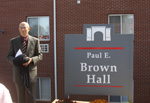 Dr. Brown unveils his sign.