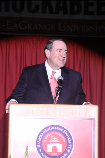 Former Governor Mike Huckabee addresses the 70th Annual Booster Banquet.