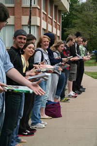 Students participating in the Human Chain